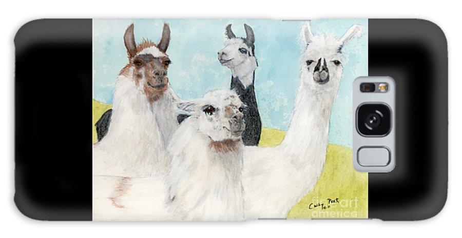 Llama Galaxy S8 Case featuring the painting Llama Herd Camelid Farm Ranch Animal Art by Cathy Peek