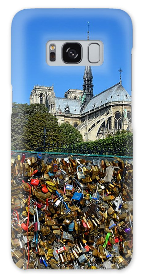 Notre Dame Cathedral Galaxy S8 Case featuring the photograph Locks Galore On The Pont De L'archeveche In Paris by Carla Parris