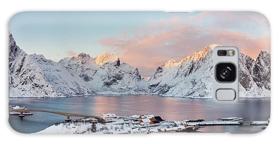 Tranquility Galaxy Case featuring the photograph Lofoten Islands Winter Panorama by Esen Tunar Photography