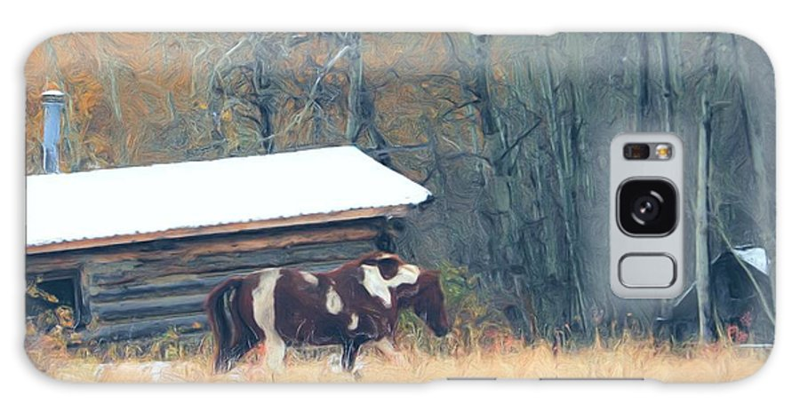 Log Homes Galaxy S8 Case featuring the photograph Log Cabin Pony by Roland Stanke