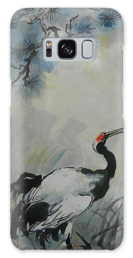 Cranes Galaxy S8 Case featuring the painting Lone Asian Crane by Min Wang