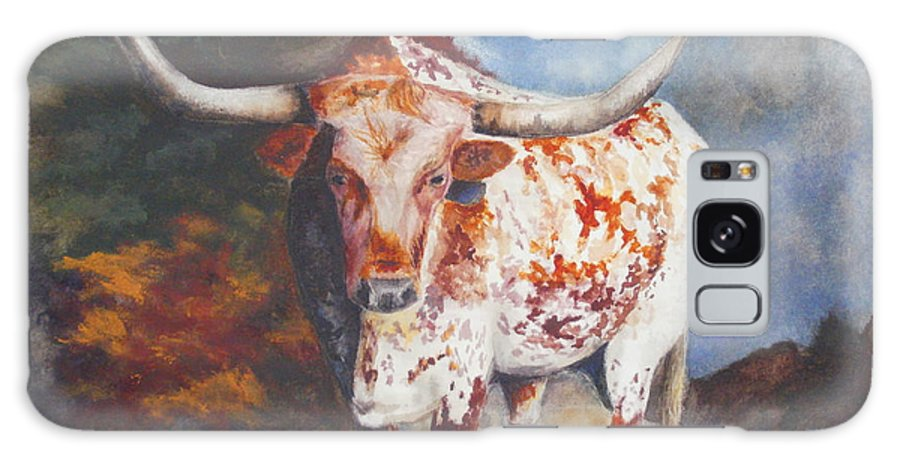 Longhorn Art Galaxy S8 Case featuring the painting Lone Star Longhorn by Karen Kennedy Chatham