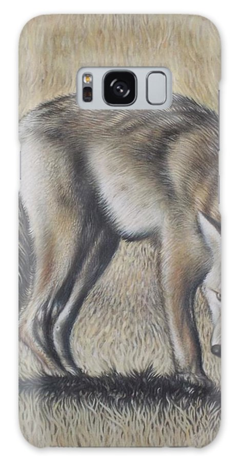 Wolf Dark Side Landscape Hungry Animal Monochromatic Plains Disturbed Alone Survival Galaxy S8 Case featuring the painting Lone Wolf by Michael Briere