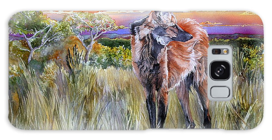 Maned Wolf Galaxy S8 Case featuring the painting Lonely Lobo Sunset by Kitty Harvill