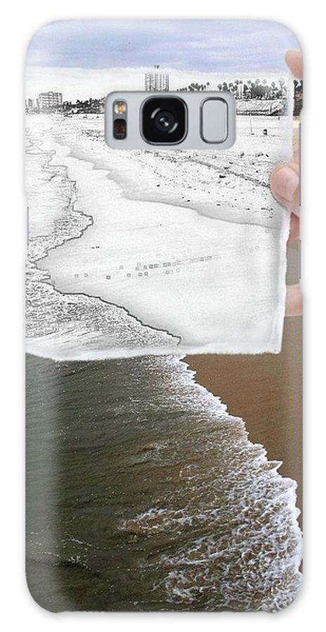 Beaches Galaxy S8 Case featuring the photograph Long Beach Shoreline / Torn Sketch Effect by Robert Butler
