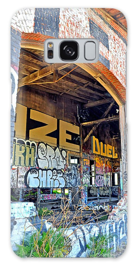 Destroyed Galaxy S8 Case featuring the photograph Looking Inside The Old Train Roundhouse At Bayshore Near San Francisco And The Cow Palace IIi by Jim Fitzpatrick