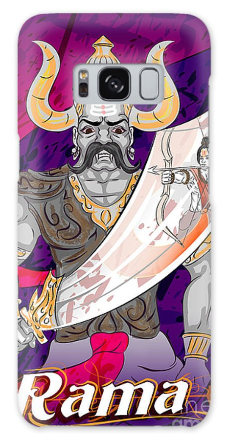 Mythological Galaxy S8 Case featuring the digital art Lord Rama With Demon Ravana In Happy by Vecton