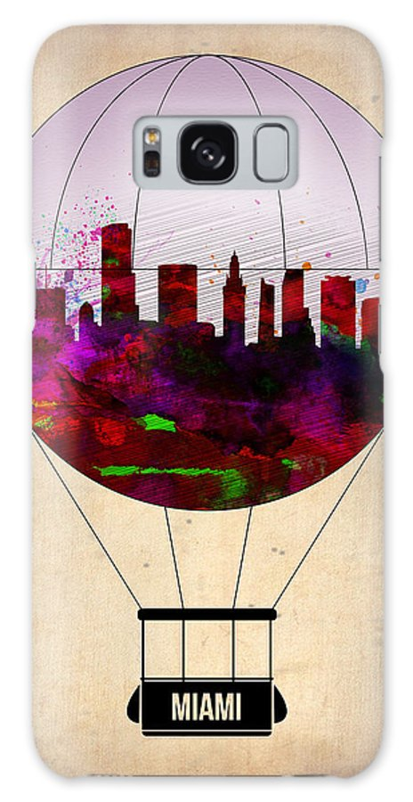 Miami Galaxy S8 Case featuring the painting Miami Air Balloon 1 by Naxart Studio