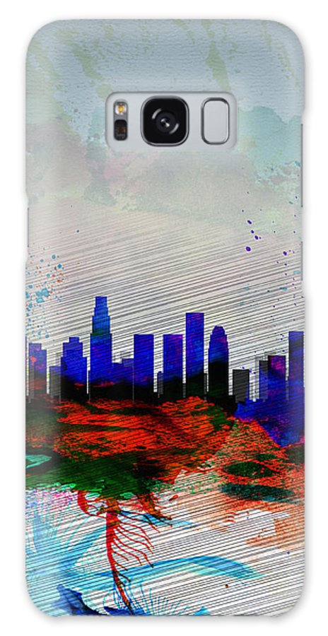 Los Angeles Galaxy S8 Case featuring the painting Los Angeles Watercolor Skyline 1 by Naxart Studio