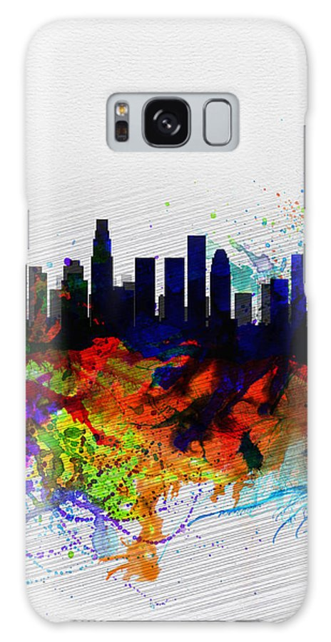 Los Angeles Galaxy S8 Case featuring the painting Los Angeles Watercolor Skyline 2 by Naxart Studio