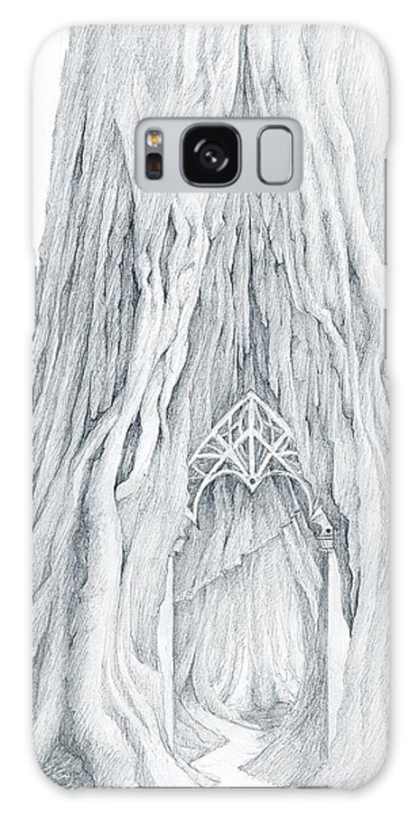 Lothlorien Galaxy Case featuring the drawing Lothlorien Mallorn Tree by Curtiss Shaffer