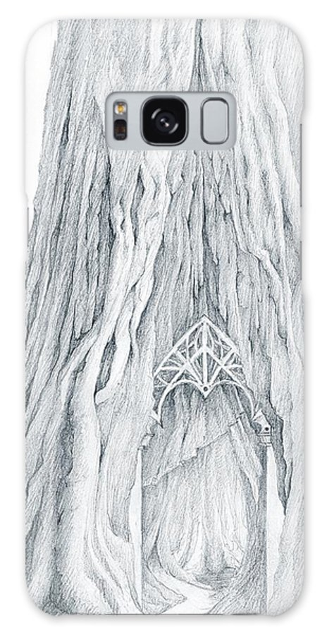 Lothlorien Galaxy S8 Case featuring the drawing Lothlorien Mallorn Tree by Curtiss Shaffer