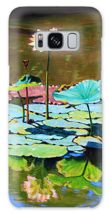 Lotus Galaxy Case featuring the painting Lotus Above the Lily Pads by John Lautermilch