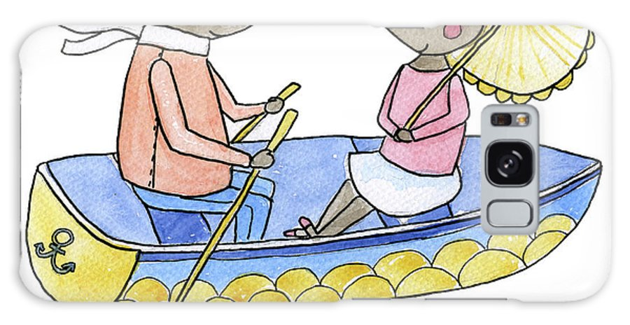 Bridegroom Galaxy Case featuring the digital art Love Boat Watercolor Illustration by Kili-kili