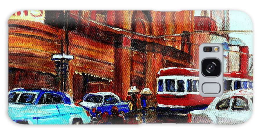 Downtown Montreal City Scenes Galaxy S8 Case featuring the painting Lovers In The Rain Stroll St Catherine Street Near Morgans Department Store Vintage City Scene Art by Carole Spandau