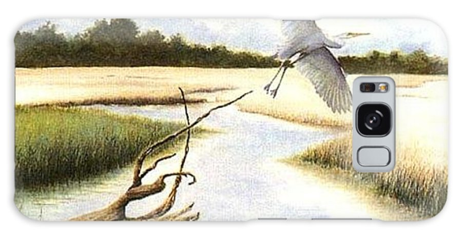 Egret Galaxy Case featuring the painting Low Country Marsh by Ben Kiger