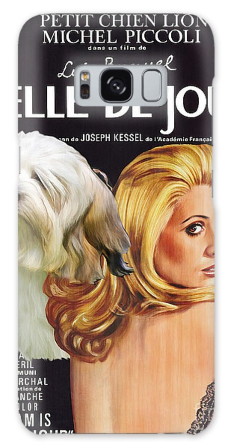 Dog Galaxy S8 Case featuring the painting Lowchen Art - Belle De Jour Movie Poster by Sandra Sij