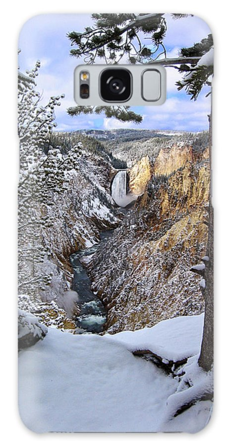 Waterfall Galaxy S8 Case featuring the photograph Lower Yellowstone Falls In October by Robert Woodward