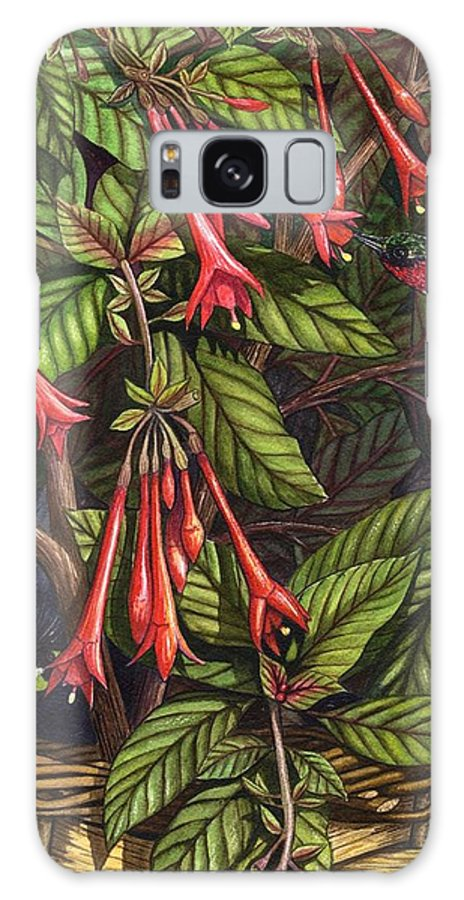 Fuchsia Galaxy Case featuring the painting Lurking by Catherine G McElroy