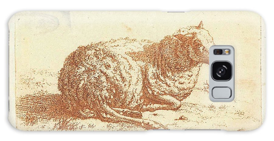 1798 Galaxy S8 Case featuring the drawing Lying Sheep, Ernst Willem Jan Bagelaar by Quint Lox