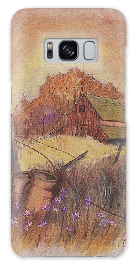 Pastel Drawing Galaxy S8 Case featuring the drawing Macgregors Barn Pstl by Carol Wisniewski
