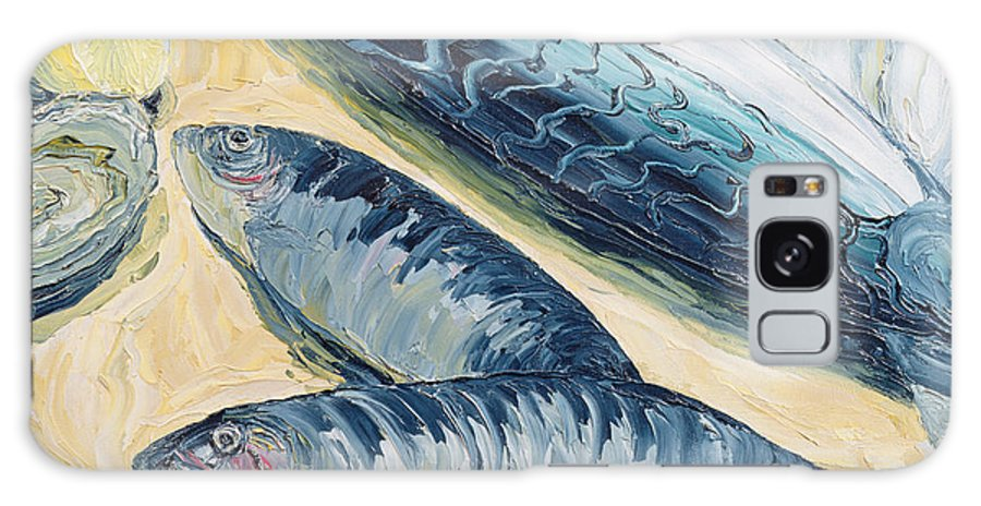Fish Galaxy S8 Case featuring the photograph Mackerel With Oysters And Lemons, 1993 Oil On Paper by Carolyn Hubbard-Ford