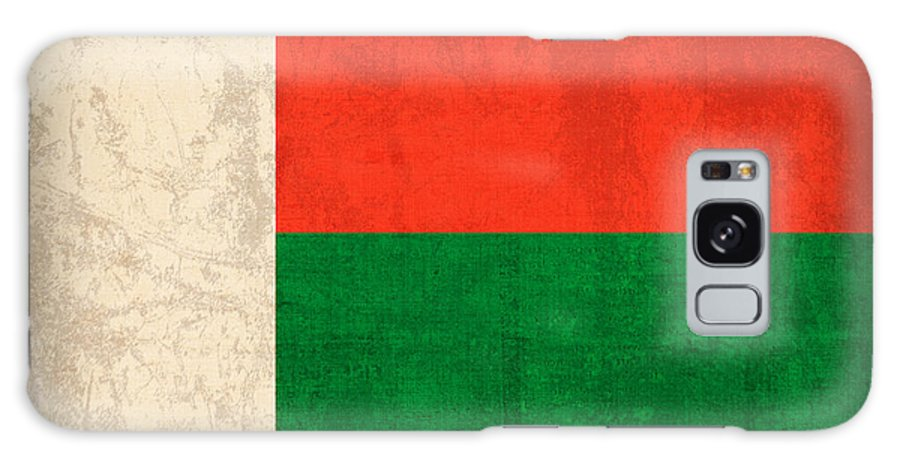 Madagascar Galaxy S8 Case featuring the mixed media Madagascar Flag Vintage Distressed Finish by Design Turnpike