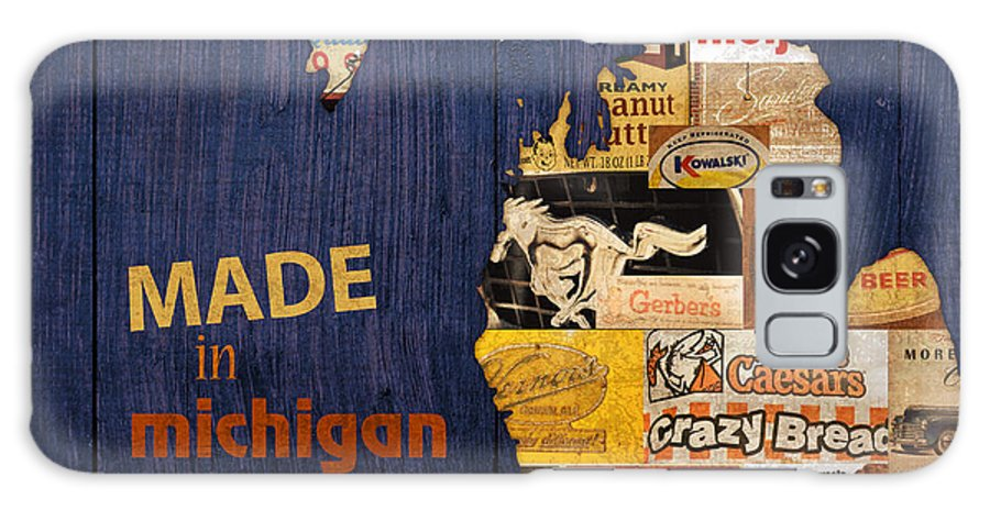 Made In Michigan Products Vintage Map On Wood Kelloggs Better Made Faygo Ford Chevy Gm Little Caesars Strohs Pioneer Sugar Lazy Boy Detroit Lansing Grand Rapids Flint Mustang Meijer Olgas Vernors Gerber Kowalski Sausage Corn Flakes Galaxy S8 Case featuring the mixed media Made In Michigan Products Vintage Map On Wood by Design Turnpike