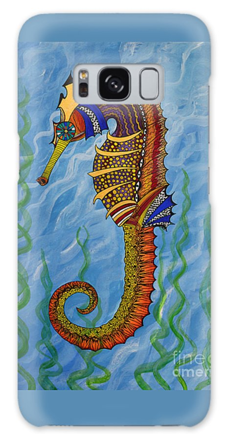 Seahorse Galaxy S8 Case featuring the painting Magical Seahorse by Suzette Kallen