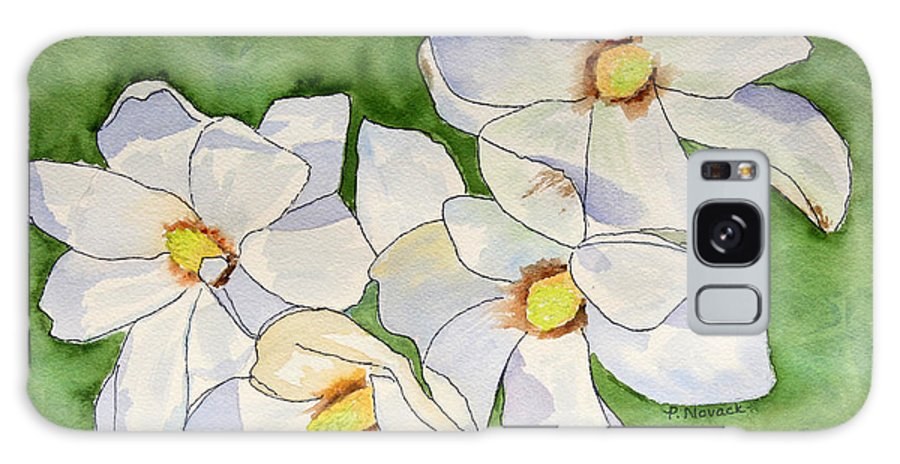 Flower Galaxy Case featuring the painting Magnolia Blossoms by Patricia Novack