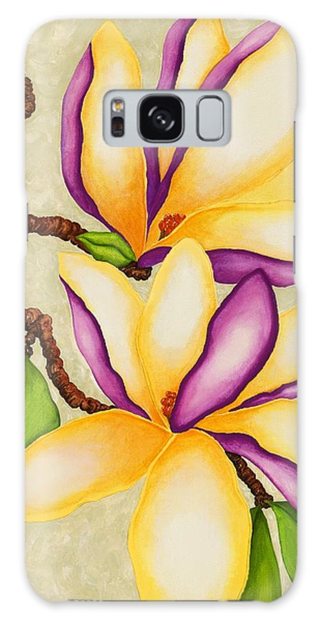 Two Magnolias Galaxy S8 Case featuring the painting Magnolias by Carol Sabo