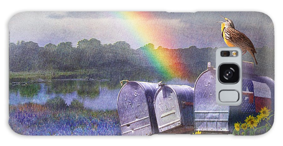 A Singing Meadowlark Atop A Row Of Aged Mailboxes. Behind The Daisy Clad Foreground Is A Field Of Spring Bluebonnets And A Small River. A Rainstorm Has Just Rolled Through Galaxy S8 Case featuring the painting Mailboxes Bluebonnets And Meadowlark In Rainbow by R christopher Vest
