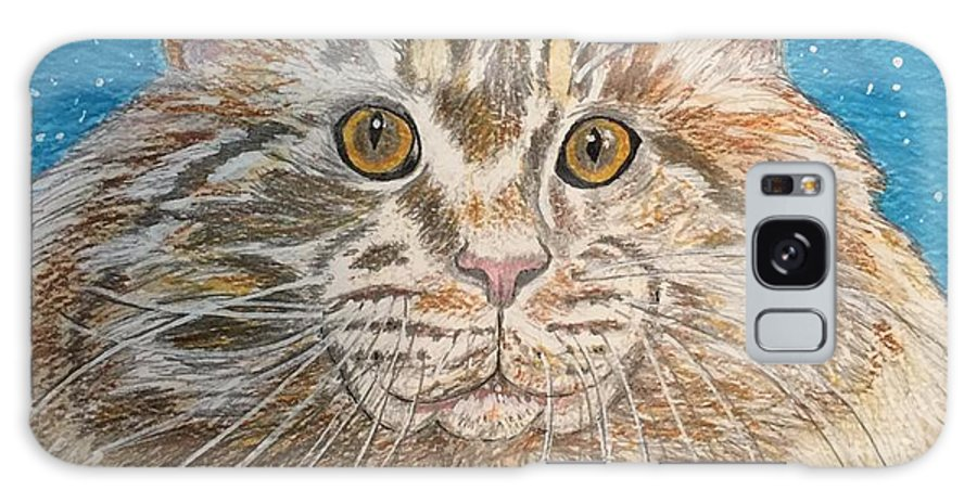 Maine Galaxy S8 Case featuring the painting Maine Coon Cat by Kathy Marrs Chandler