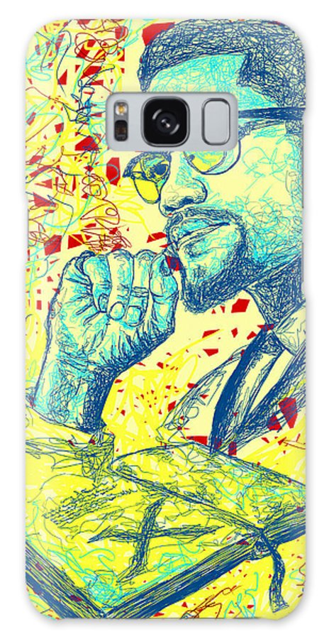 Malcolm X Drawing In Lines Galaxy S8 Case featuring the digital art Malcolm X Drawing In Lines by Kenal Louis