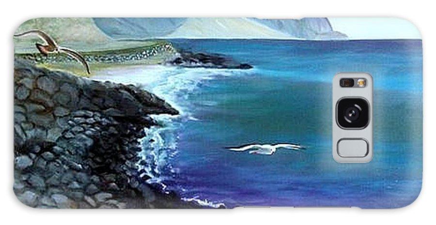 Malibu Beach Galaxy Case featuring the painting Malibu Beach by Lora Duguay