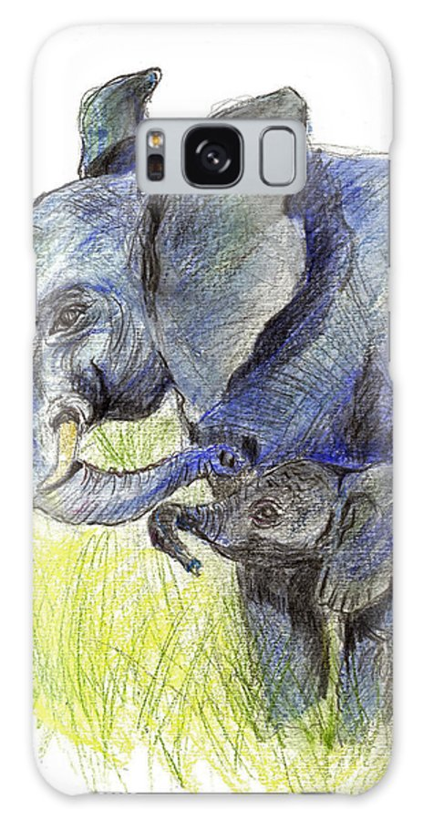 Elephant Galaxy S8 Case featuring the painting Mama Elephant And Calf by Ellen Miffitt