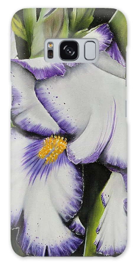 Iris Galaxy S8 Case featuring the painting Mama's Favorite Iris by Karen Beasley