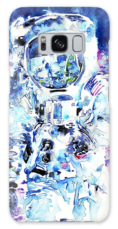 Astronaut Galaxy S8 Case featuring the painting Man On The Moon - Watercolor Portrait by Fabrizio Cassetta