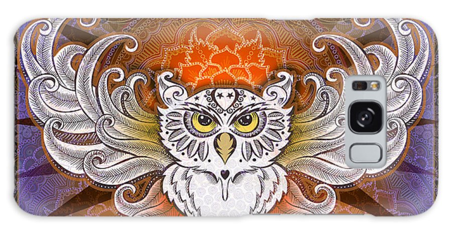 Owl Galaxy S8 Case featuring the mixed media Mandala Owl by Julie Oakes