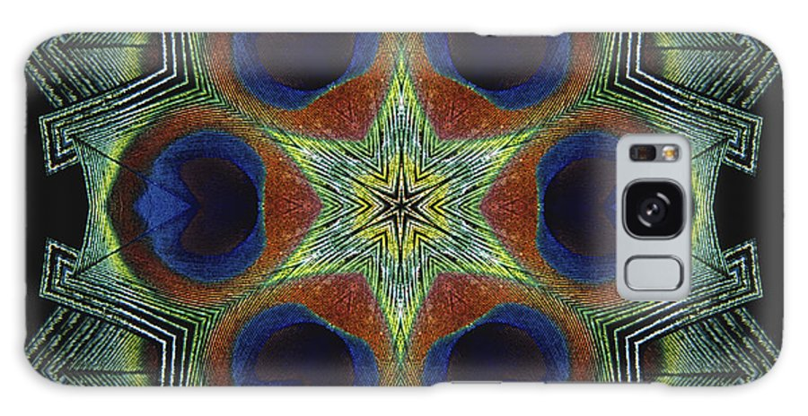 Mandala Galaxy Case featuring the digital art Mandala Peacock by Nancy Griswold