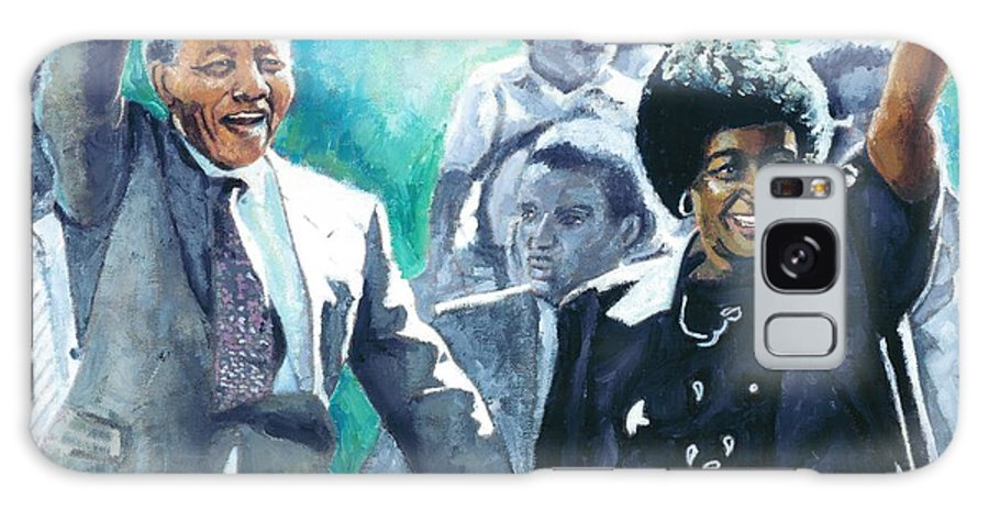 Nelson Mandela Galaxy S8 Case featuring the painting Mandela - Leaving Prison by Alan Levine