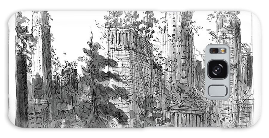 Manhattan Woods (after Everything Has Moved To New Jersey)  Manhattan Woods (after Everything Has Moved To New Jersey): Title. Skyscrapers Are Overgrown Galaxy S8 Case featuring the drawing Manhattan Woods by James Stevenson