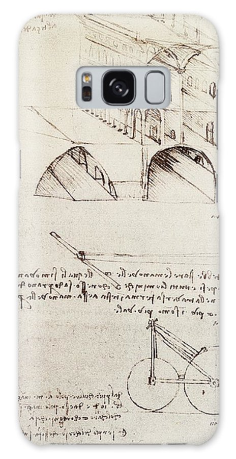 Leonardo Galaxy S8 Case featuring the drawing Manuscript B F 36 R Architectural Studies Development And Sections Of Buildings In City With Raise by Leonardo Da Vinci