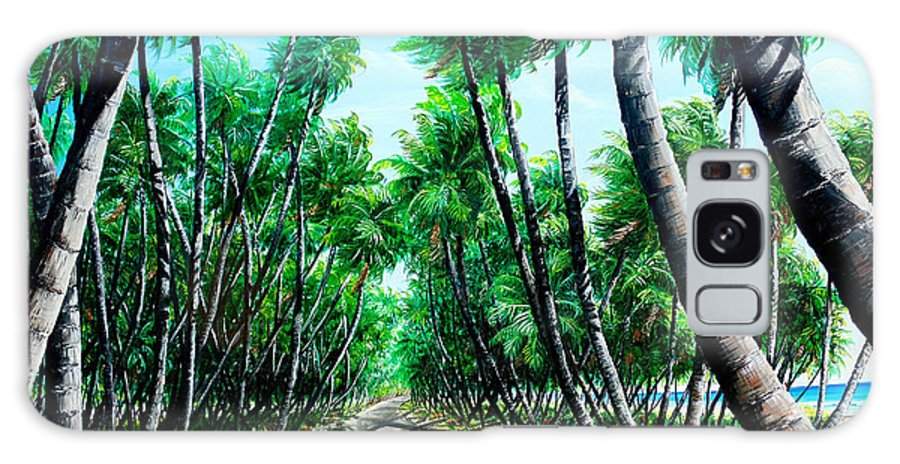 Coconut Trees Galaxy Case featuring the painting Manzanilla Coconut Estate by Karin Dawn Kelshall- Best
