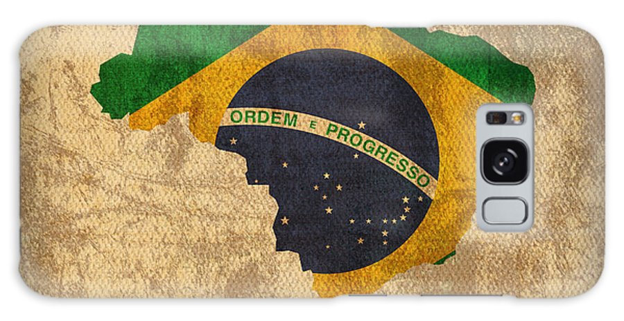 Map Of Brazil With Flag Art On Distressed Worn Canvas Galaxy S8 Case featuring the mixed media Map Of Brazil With Flag Art On Distressed Worn Canvas by Design Turnpike