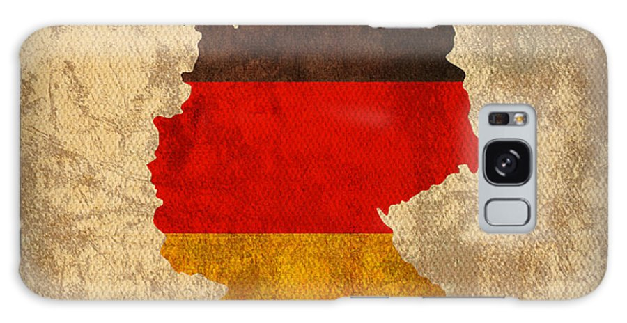 Map Of Germany With Flag Art On Distressed Worn Canvas Galaxy S8 Case featuring the mixed media Map Of Germany With Flag Art On Distressed Worn Canvas by Design Turnpike