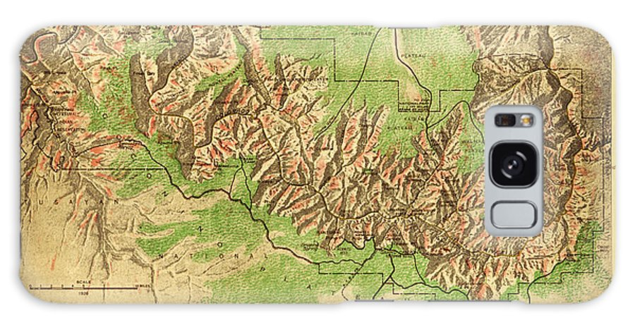 Map Of Grand Canyon National Park Painting Art Galaxy S8 Case featuring the painting Map Of Grand Canyon National Park by MotionAge Designs