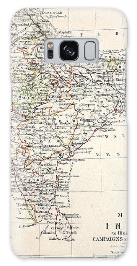 Map Galaxy S8 Case featuring the drawing Map Of India by Alexander Keith Johnson