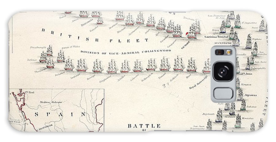 Map Galaxy S8 Case featuring the drawing Map Of The Battle Of Trafalgar by Alexander Keith Johnson