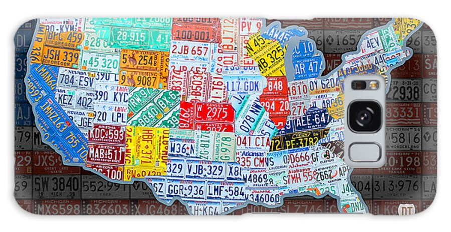 Map Of The United States In Vintage License Plates On American Flag - Us-map-license-plates